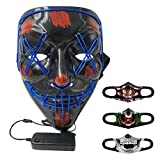 Máscara de Halloween LED Light Up Máscara de cosplay de calavera de aterradora para hombres Para adultos Para Fiesta de disfraces, Carnaval Navidad en (Azul y máscara)