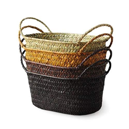 Cesti portaoggetti Cestino di stoccaggio del rattan di mare della seagrassa della vasca, fai da te cestino del vaso del vaso del vaso di paglia di FAI DA TE Struttura dei vari di frutta Scatola dell'i