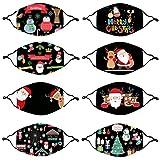 Masrin Mund- und Nasenschutz - 8PC Mundschutz aus Baumwolle mit Weihnachtsmotiv für Erwachsene - Waschbarer wiederverwendbarer winddichter Außenschutz (Mehrfarbig)