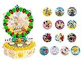 Original Tarta Infantil Decorativa de Golosinas 3 Bases + Oblea Dibujos en Bolsa Celofán. Dulces. Juguetes y Regalos. Decoración para Cumpleaños, Bodas, Bautizos y Comuniones.DC (EMOJI)