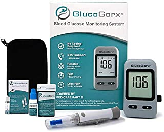 GlucoGorx® Blood Glucose Testing Kit - 210 Blood Test Strips, 225 Sterile Lancets, Glucometer, Depth Controlled Lancing Device, Control Solution, User Manual & Convenient Carrying Case
