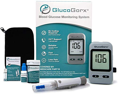 GlucoGorx® Blood Glucose Diabetes Testing Kit - 310 Blood Test Strips, 325 Sterile Lancets, Glucometer, Depth Controlled Lancing Device, Control Solution, User Manual & Convenient Carrying Case