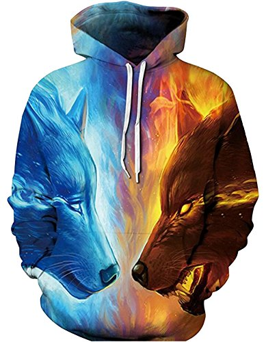 SAINDERMIRA Unisex Fashion 3D Digital Galaxy Pullover Hoodie Hooded Sweatshirt Athletic Casual with Pockets(ice fire, S/M)