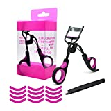Vtrem Professional Eyelash Curler with 12 PCs Silicone Pressure Refill Pads & Tweezers No Pinching, Get Charming Curled Eyelashes, Fits All Eye Shapes (Black)