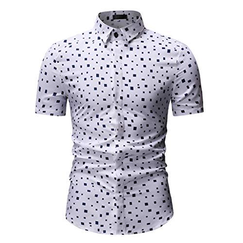 Ouneed- Camicia Estiva Manica Corta da Uomo Stampata in 3D Casual abbottonata Casual per Uomo