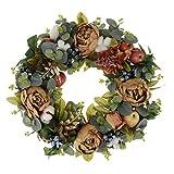 Baoblaze Künstliche Türkranz Wandkranz Blumenkranz Dekokranz mit Pfingstrosen Obst und