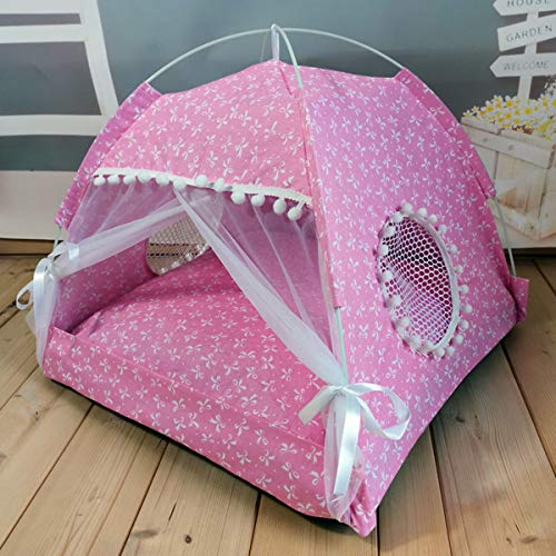 Xpnit Haustier-Katzenzelt, tragbar, faltbar, für Welpen, Kätzchen, Höhlenbett, abnehmbares Kissen, für drinnen und draußen, Kinderbett mit Himmel für kleine Hunde und Katzen (Pink)
