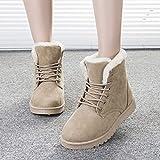 Easyeeasy Botas de nieve de invierno Botas cortas para mujer Zapatos de algodón con cordones Zapatos cálidos y de terciopelo para estudiantes, 1 par