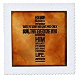 3dRose LLC qs_29092_1 Quilt Square, 10 by 10-Inch, John 3 16 Bible Verse Embossed on a Copper Background