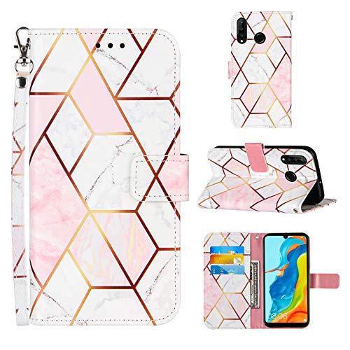 Ostop Hülle Kompatibel mit Huawei P30 Lite Schutzhülle Brieftasche Premium Leder Flip Tasche Handyhülle für Mädchen Männer [Handschlaufe][Standfunktion][Kartenfach],Marmor Roségold