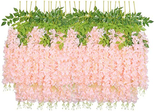 SHACOS 24 Pack 3.3 Feet Artificial Wisteria Flowers Pink Wisteria Vine Garland Silk Spring Flowers Artificial Wisteria Vine Hanging Flower Garland Perfect for Wedding Decor Party