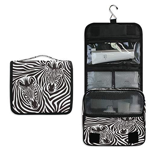 ALARGE - Bolsa de aseo para colgar, diseño de cebra, diseño de cebra, grande, portátil, bolsa de maquillaje, organizador para mujeres, hombres