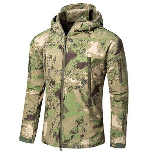 XPF Hommes Militaire Tactique Softshell Vestes en Plein Air Étanche Sport Camouflage Chasse Camping Randonnée Veste Coupe-Vent,H-M