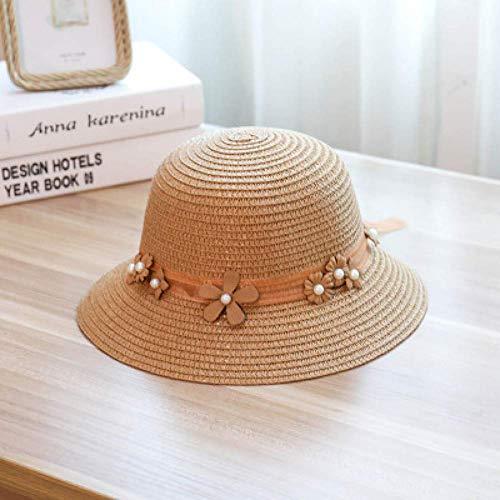 WYRKYP Sombrero Sol Sombrero Paja Sombrero Gorra Verano Sombrero Señoras Playa Sombrero de Paja Señoras,1 55-58Cm