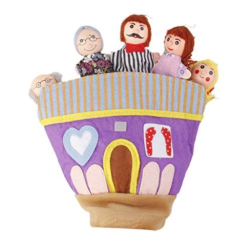 MagiDeal Holzkopf Familie Spielzeug Fingerpuppe Handschuh