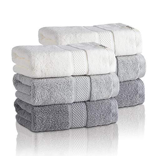 Toketa Premium Hand Towels for Bathroom Combed Cotton Hand Towels Absorbent Soft Cotton Hand Towels for Bathroom, Hand & Face Washcloths Set 13 x 30 Inches Pack of 6 Beige & Grey