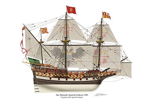 SWIFT Profile 1580 Spanische Galeone Sao Martinho von Kunstwerken, A4 Hochglanz mit Unterschrift von Armada Spanische Kriegschiffen Hochwertiger Kunstdruck - Stillleben