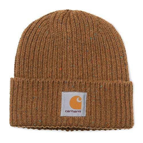 Carhartt WIP Anglistic Beanie Unisex Winter Mütze mit 7kmh Aufkleber Braun 10216