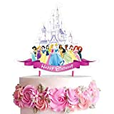 Decorations for Disney Princess Cake Topper Birthday Party Supplies Decor, Castle