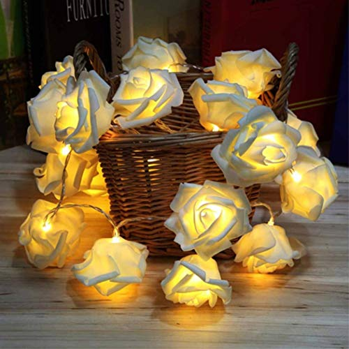 Fantasee LED Rose Flower String Lights Battery Operated for Wedding Home Party Birthday Festival Indoor Outdoor Decorations (16.4ft 50LED, White Rose Warm LED Lights)
