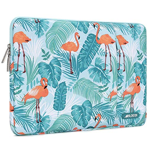 MOSISO Laptop Sleeve Compatible with 13-13.3 inch MacBook Pro, MacBook Air, Notebook Computer, Polyester Vertical Flamingo Palm Leaves Bag with Pocket