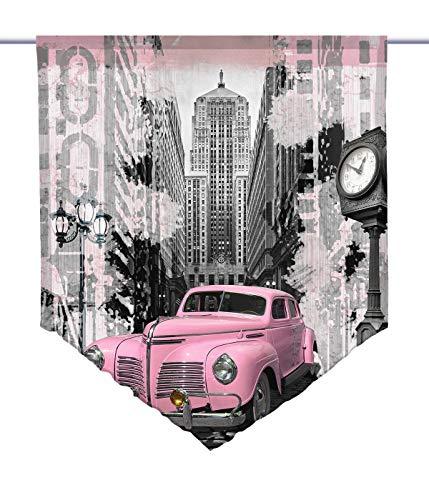 gardinen-for-life Scheibenhänger Pink Car Voile Transparent, Scheibenhänger aus Feiner Voile in Verschiedenen Größen (HxB 75x60cm)