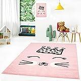 MyShop24h Kinderteppich Flachflor Kids Teppich Kinderzimmer Spielzimmer mit Katze und Krone in Grau-Rosa-Grün, Größe in cm:80 x 150 cm, Farbe:Rosa