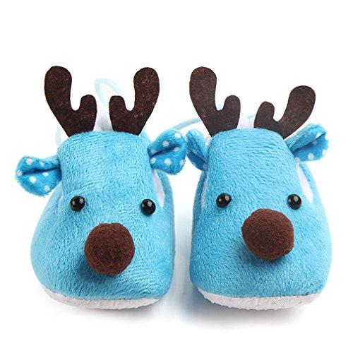 COMVIP Cartoon Girafe Bébé Unisexe Chaussure Premier Pas Chaud d'hiver Bleu