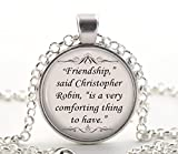 Winnie The Pooh Necklace, Silver Christopher Robin Quote Pendant, Friendship Jewellery Gift Ideas for Women & Friends