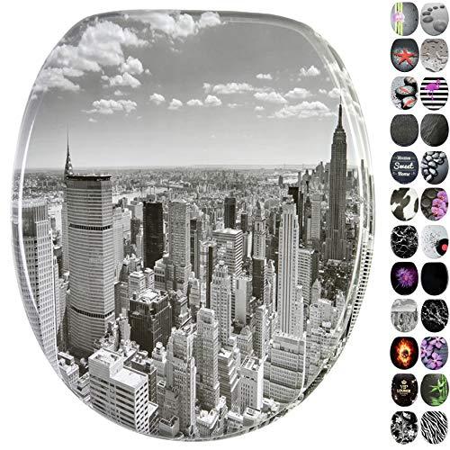 WC Sitz, viele schöne schwarze WC Sitze zur Auswahl, hochwertige und stabile Qualität aus Holz (Skyline New York)