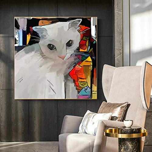 wZUN Arte Gato Animal Lienzo Abstracto Pintura decoración Moderna Carteles e Impresiones Sala de Estar Dormitorio Mural 50x50 cm