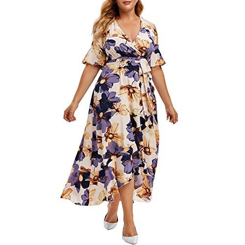 ZGMA Vestido de Boho Mujer 2021 Tallas Grandes con Cinturon Maxi Largo Verano Playa Cuello en V Floral Manga Corta Casual Vestidos