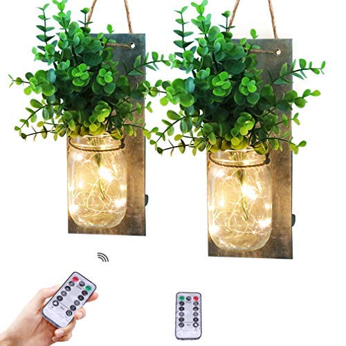 Rustic Mason jar Wall Decor sconces, Handmade Wall Art Hanging Design with Remote Control led Fairy Lights and Greenery Plant, Farmhouse Kitchen Bathroom Decorations Wall Decor Living Room sconces