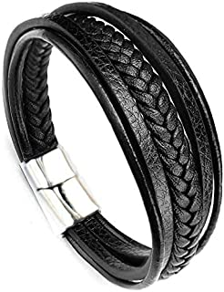 Mens Braided Leather Multi Layer Fashion Bracelet/Wrist Band-ST0589