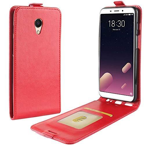 Sangrl Tasche Für Meizu S6 / Meizu M6S, Hohe Qualität PU Leather Flip Hülle Soft Texture up & Down Open Tasche Ledertasche Rot