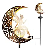 YJFWAL Garden Solar Lights Pathway Stake Lights Moon Fairy Glass Globe with Angel Decor, Outdoor Decorative Lights Waterproof for Walkway, Yard, Lawn, Patio or Courtyard (Warm White)