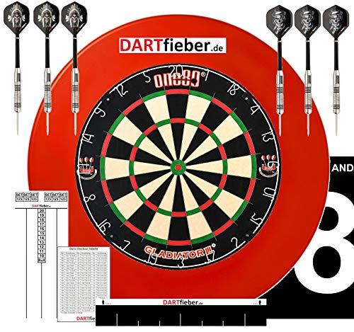 Mega Dart Starter Set Dartboard Gladiator 3 Surround ROT Abwurflinie 2 Set Steel-Darts Checkoutkarte Scoreboard Block Flyer Aufkleber