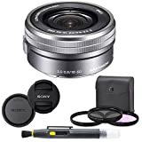 Sony SELP1650 16-50mm Power Zoom Lens (Silver) + 7PC Kit Includes 3 Piece Filter Kit (UV-CPL-FLD) + Front & Rear Lens Caps + Cleaning Pen - Sony E PZ 16-50mm f/3.5-5.6 OSS Lens - International Version