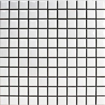 廣美陶房 昔ながらのモザイクタイル 25mm角 白色ブライト N-1