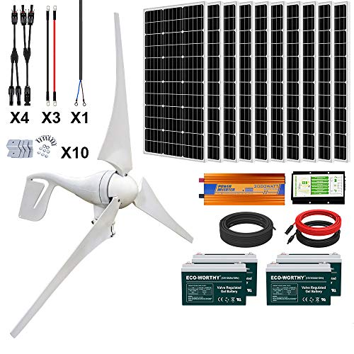 ECO-WORTHY 1400 Watts 24V Solar Wind Turbine Generator Kit: 1pc 400 Watt Wind Turbine + 10pcs 100W Mono Solar Panel + 1pc Solar Wind Hybrid Controller + 1pc 3000W 24V Inverter + 4pcs 100Ah Battery
