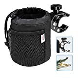 kemimoto Marine Cup Holder, Oxford Fabric Drink Cup Can Holder with Drain and Alligator Clip for Boat, Motorcycle, ATV, Bike, Scooter, Wheelchair, Walker, Golf Cart, RV, Camper, Chair, Adjustable