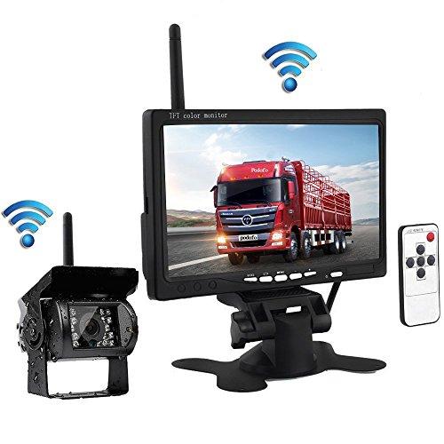 """Podofo Drahtlose IR-Nachtsicht Hintere Ansicht Untersttzungskamera System + 7 \""""HD Monitor fr RV LKW-Anhnger-Bus"""