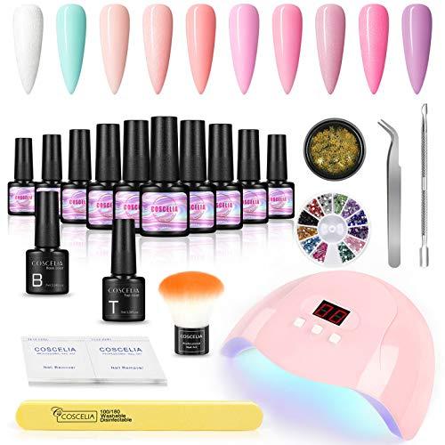 COSCELIA Kit Completo Uñas Semipermanentes Lámpara LED/UV de 36W para Uñas 10pcs Gel Color para Uñas Base y Top Coat