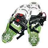 SNOWTREK Aluminum Snowshoes for Kids with Carrying Bag - One Pull Adjustable Harness