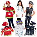Born Toys Premium 16pcs Costume Dress up set for kids ages 3-7 fireman,police costume, and doctor all sets are washable and have accessories from Born Toys