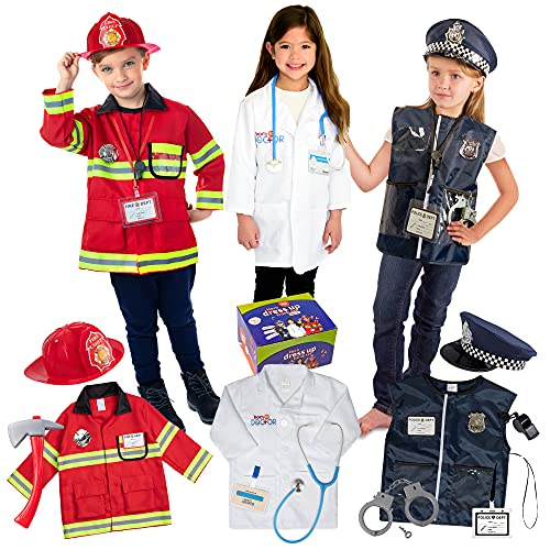 Born Toys Premium 16pcs Costume Dress up set for kids ages 3-7 fireman,police...