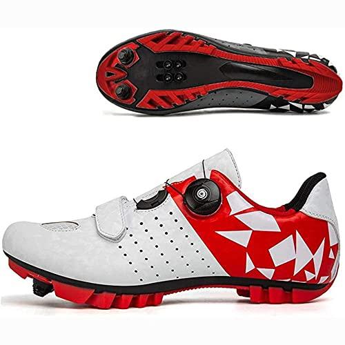Zapatillas De Bicicleta Hombre Road SPD Bike Ciclismo Zapatos Spin Shoestring con Compatible SPD Look Delta Ciclo Montar Pelotón Calzado VIIPOO,Red-46 EU