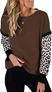 Womens Round Neck Patchwork Long Sleeve Tops Shoulder Sweatshirts Casual Leopard Print Shirts