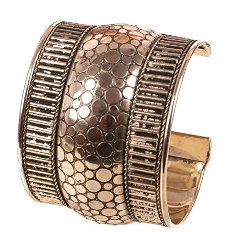 Touchstone - Pulsera de latón con diseño de bollywood indio hecho a mano con aspecto martillado y elegante, para mujer, color plateado envejecido