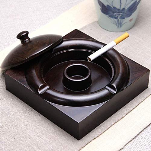 WXD Cenicero con Tapa, Contenedor de Cenizas para Fumadores, Cenicero de Escritorio para decoración de Oficina en el hogar, Negro